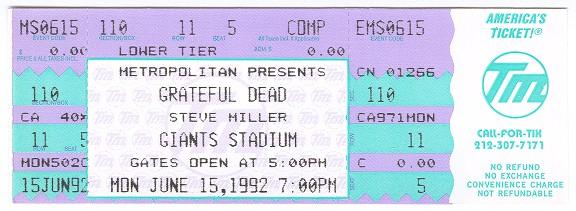 Grateful Dead Concert Ticket