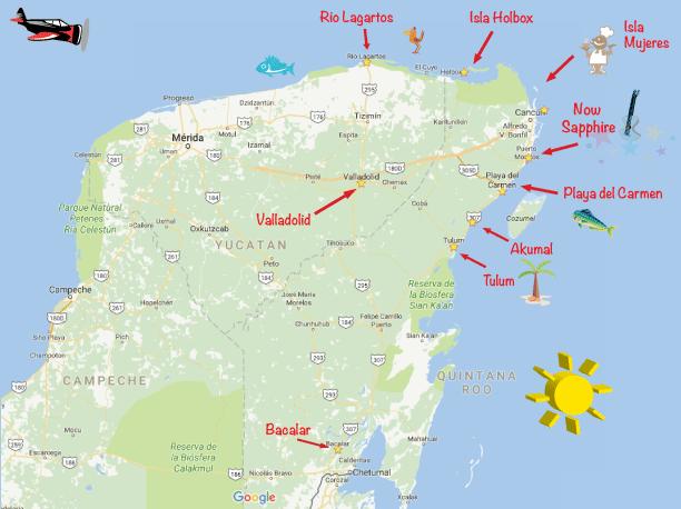 Yucatan Peninsula Map for Music Festival Destinations in Mexico