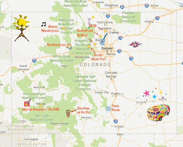 Colorado Music Festival Adventure - map of Colorado Festivals