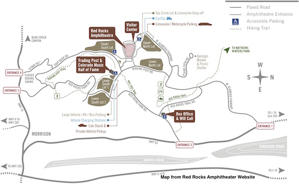 Tips for a Concert at Red Rocks Parking Lot Map
