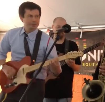 Pete Buttigieg on guitar